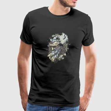 Leather Skull Tom Hawk Indian Drawing Painting Art - Men's Premium T-Shirt