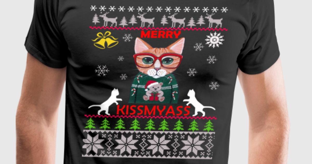Merry Kissmyass Funny Ugly Christmas Sweater by ZaloTees | Spreadshirt