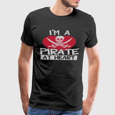 A Pirate At Heart Logo Funny - Men's Premium T-Shirt