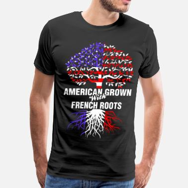 French American American Grown With French Roots - Men's Premium T-Shirt