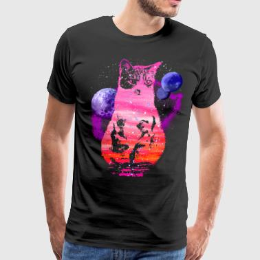 Space Cat with Planets - Men's Premium T-Shirt