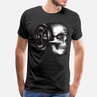 Weightlifting Skull Skull Barbell Plate - Men's Premium T-Shirt