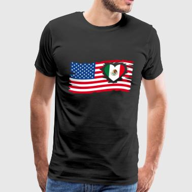 USA Flag with mexican Heart Mexico / US - Men's Premium T-Shirt