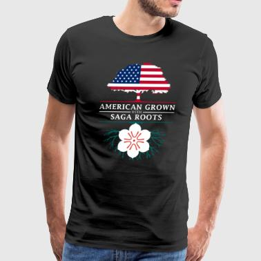 American Grown with Saga Roots Japan Design - Men's Premium T-Shirt