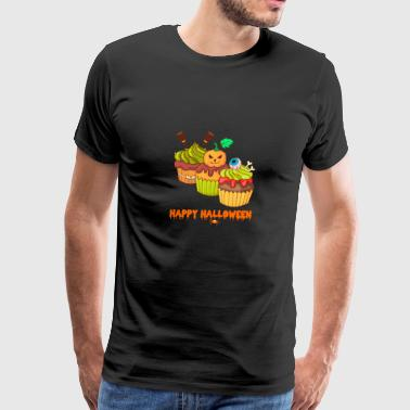 Werewolf Happy Halloween Horror Cupcakes Muffins - Men's Premium T-Shirt