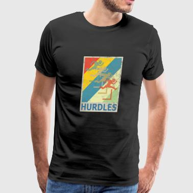 Retro Vintage Style Hurdles Athletics Sports - Men's Premium T-Shirt