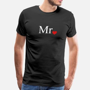Mrs Mr with heart dot (Mr and Mrs set) - Men's Premium T-Shirt