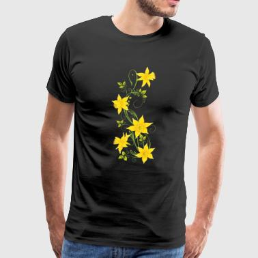 Tendril with daffodils and leaves - Men's Premium T-Shirt