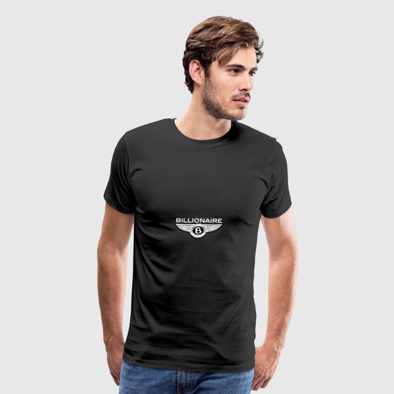 Billionaire - Wings Design (White Letters/Black) - Men's Premium T-Shirt