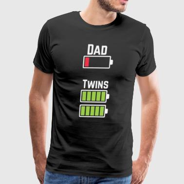 Dad Twins Battery- Funny Dad Of Twins - Men's Premium T-Shirt
