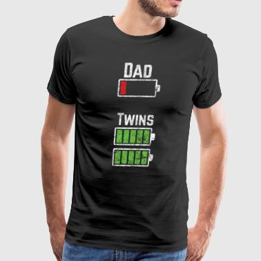 Dad Twins Battery- Funny Dad Of Twins Shirt - Men's Premium T-Shirt