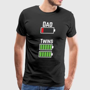 Dad Twins Battery- Dad Of Twins Funny Shirt - Men's Premium T-Shirt