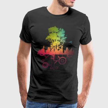 Urban Tech Nature - Technology Tree City Skyline - Men's Premium T-Shirt