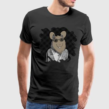 White Tartan Hipster Mouse  mixed media digital art collage  - Men's Premium T-Shirt