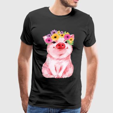 Cute pig with flower for girls and women - Men's Premium T-Shirt
