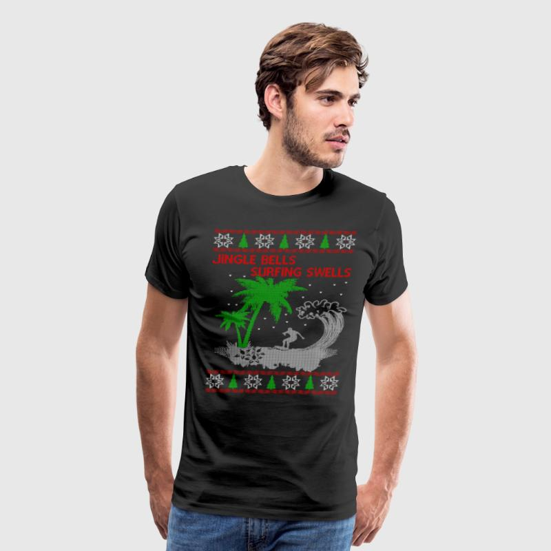 Surfing Ugly Christmas Sweater - Men's Premium T-Shirt