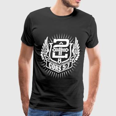 Faith Based Cors 5:7 - For we walk by faith, not by sight - Men's Premium T-Shirt