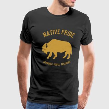 Native American Indian Gaur Bison - Men's Premium T-Shirt