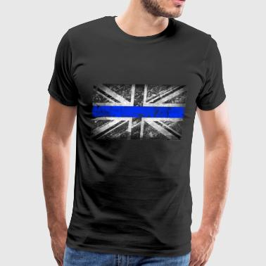 tattered distressed thin blue line flag vintage GB - Men's Premium T-Shirt