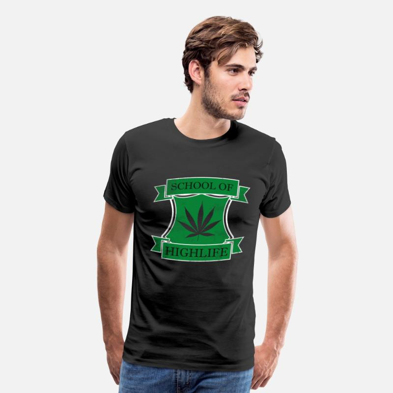 Pothead T-Shirts - SCHOOL OF HIGHLIFE MARIHUANA 420 WEED FUNNY COOL - Men's Premium T-Shirt black