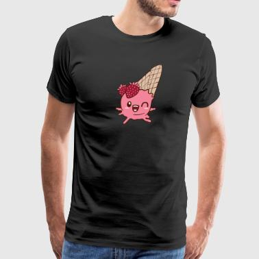 Winking Strawberry Ice Cream - Men's Premium T-Shirt