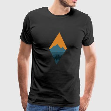 Mountain Landscape | Rhomb Mountain Tree - Men's Premium T-Shirt