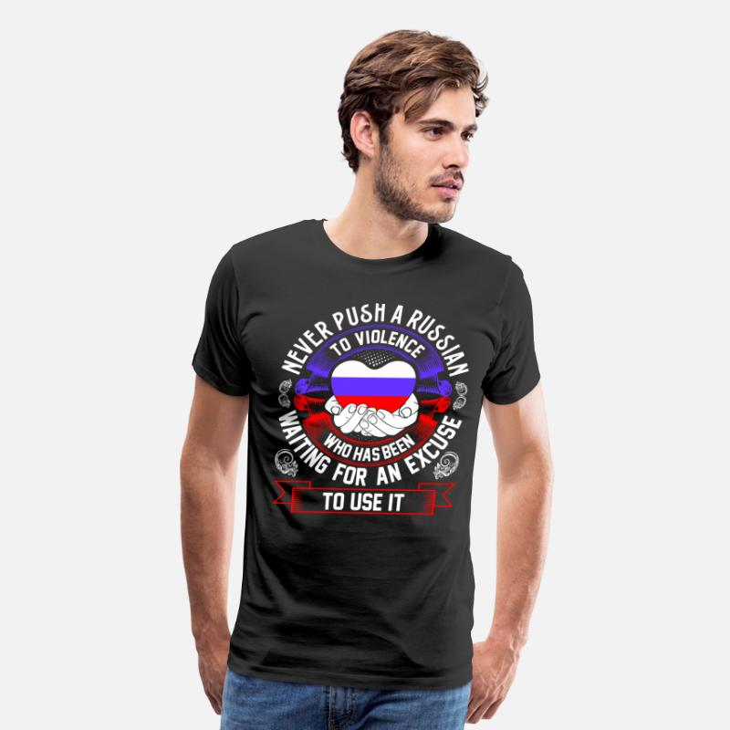 Kettlebell T-Shirts - Never Push A Russian to Violence - Men's Premium T-Shirt black
