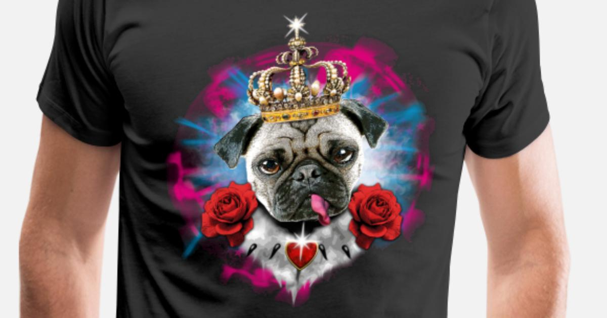 fcab7db67d42 Pug Mops King Queen Heart Roses tongue Men's Premium T-Shirt | Spreadshirt