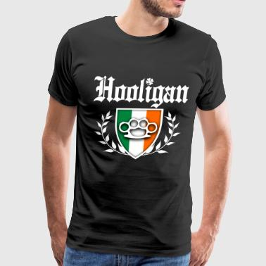 Hooligan IRISH HOOLIGAN - Brass Knuckle Irish Flag Crest - Men's Premium T-Shirt