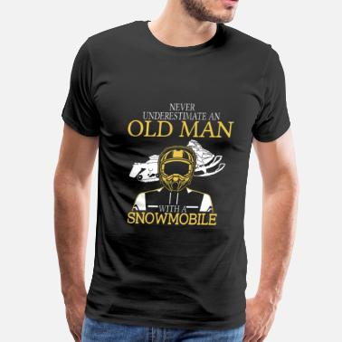 Snowmobiling Polaris Snowmobile - An old man with a snowmobile t - shir - Men's Premium T-Shirt