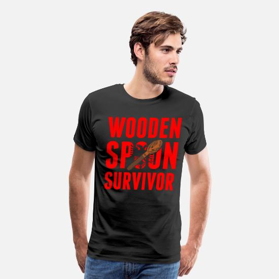 Spoon T-Shirts - Albanian Wooden Spoon Survivor - Men's Premium T-Shirt black