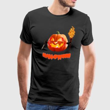 Halloween Pumpkin 3D Print - Men's Premium T-Shirt