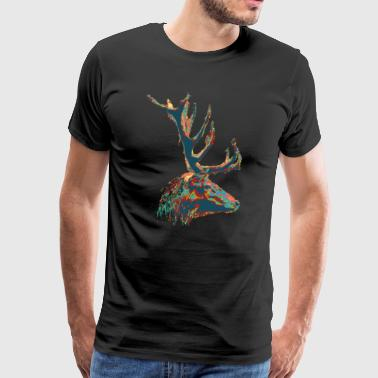 Deer Illustration Design Green Red Gift - Men's Premium T-Shirt