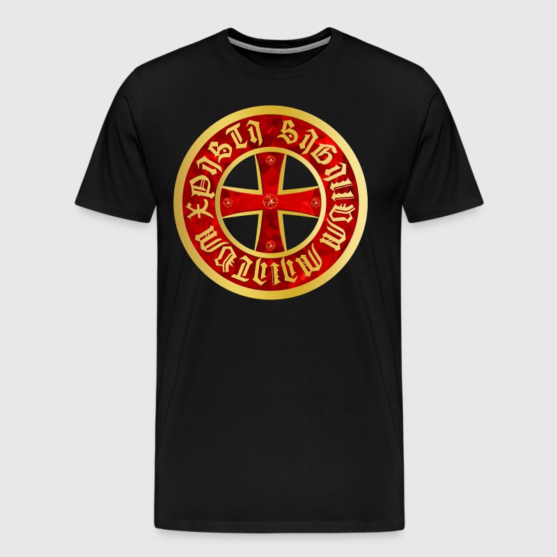 Cross Knight Templar Crusader Shield gothik gold - Men's Premium T-Shirt