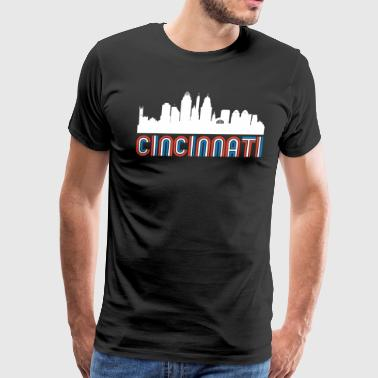 Red White Blue Cincinnati Ohio Skyline - Men's Premium T-Shirt
