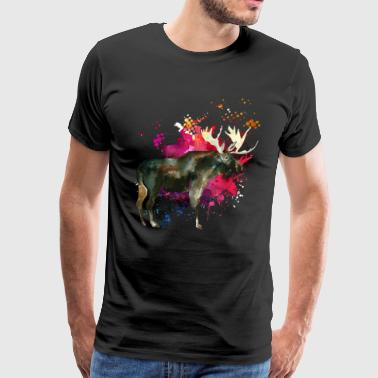 Moose Watercolor Tee Shirt - Men's Premium T-Shirt
