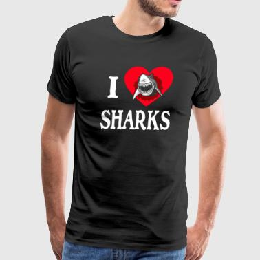 I heart sharks 4 hoodie - Men's Premium T-Shirt