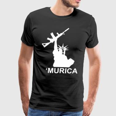 Murica Lady Liberty Gun Tee gun rights molon labe - Men's Premium T-Shirt