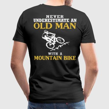 OLD MAN WITH A MOUNTAIN BIKE - Men's Premium T-Shirt