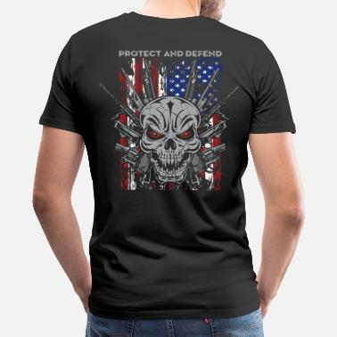 Skull Military Badass Skull Guns Protect - Men's Premium T-Shirt