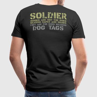 Dog Tag Chain Soldier with dog tags - Men's Premium T-Shirt
