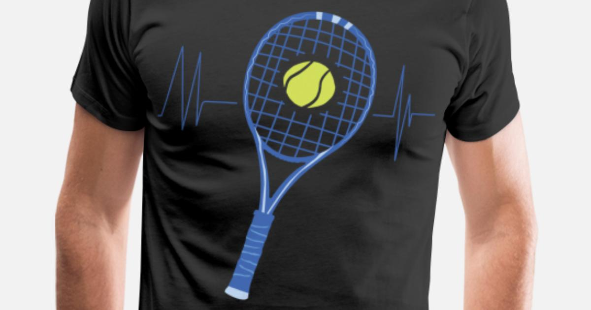 235cd13556 Funny Tennis Player Gift Idea Tennis Heartbeat Men's Premium T-Shirt |  Spreadshirt