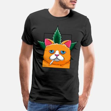 Girl Smoke Smoking Cat Marijuana Cannabis Weed Joint Gift Kitty Smoke - Men's Premium T-Shirt