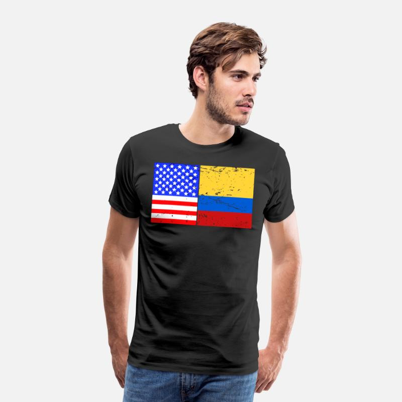 Country T-Shirts - Vintage USA Colombia US Colombian Flag Pride - Men's Premium T-Shirt black