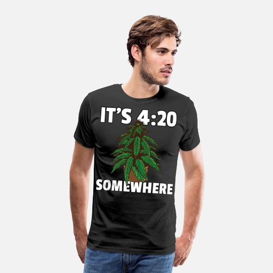 Hemp T-Shirts - Marijuana Weed Joint Ganja Pothead Stone - Men's Premium T-Shirt black