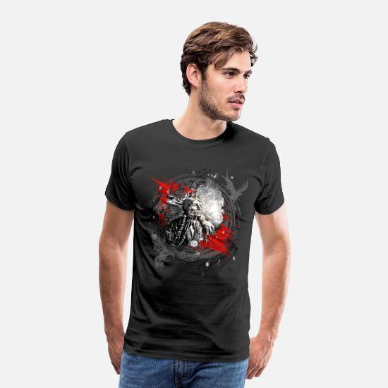 Native American T-Shirts - Indian Chief Modern Art - Men's Premium T-Shirt black