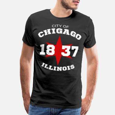 Michigan City of Chicago Illinois White Vintage - Men's Premium T-Shirt