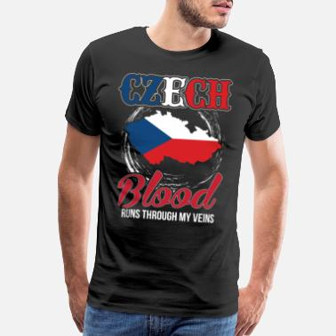 Blood Runs Czech Blood Runs Through My Veins - Men's Premium T-Shirt