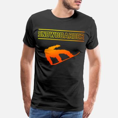 Mountains And Sun Jumping Snowboarder Boarder Snowboarding - Men's Premium T-Shirt