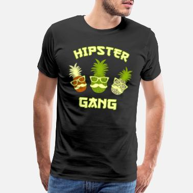Pineapple Fruit Hipster Gang pineapple colorful fruits - Men's Premium T-Shirt